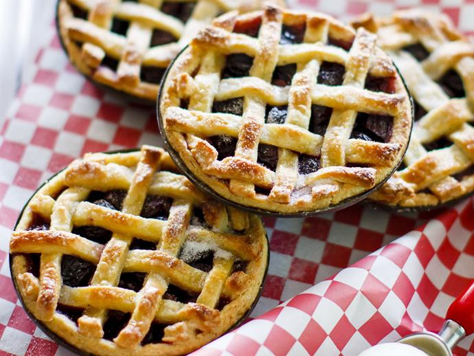 "**[Fresh cherry pies with orange cream cheese pastry](https://www.womensweeklyfood.com.au/recipes/fresh-cherry-pies-with-orange-cream-cheese-pastry-7965|target=""_blank"")**  These pretty little pies taste just as good as they look. Use fresh cherries when they are in season; otherwise thawed frozen cherries will do."