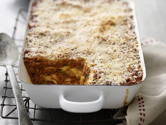 "**[Beef and eggplant parmigiana lasagne](https://www.womensweeklyfood.com.au/recipes/beef-and-eggplant-parmigiana-lasagne-7970|target=""_blank"")**  Parmigiana is an Italian dish made with a shallow or deep-fried sliced aubergine filling, layered with cheese and tomato sauce."