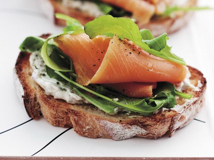 "**[Bruschetta with smoked salmon, cream cheese and rocket](https://www.womensweeklyfood.com.au/recipes/bruschetta-with-smoked-salmon-cream-cheese-and-rocket-7976|target=""_blank"")**  Whip up this light and delicious bruschetta for a quick lunch or appetiser."