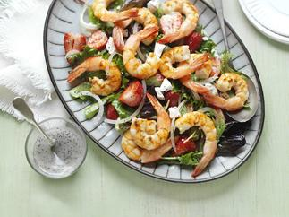 prawn, strawberry & poppy seed salad