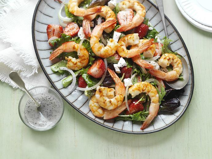 "**[Prawn, strawberry & poppy seed salad](https://www.womensweeklyfood.com.au/recipes/prawn-strawberry-and-poppy-seed-salad-3010|target=""_blank"")**  Strawberries make a surprise appearance in this summery salad alongside prawns and delicious creamy feta."