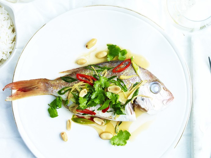 steamed baby snapper with chilli, ginger & peanuts