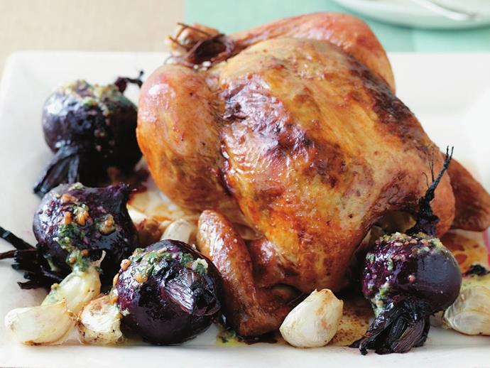 "[Roast chicken and beetroot with pesto butter recipe.](https://www.womensweeklyfood.com.au/recipes/roast-chicken-and-beetroot-with-pesto-butter-6040|target=""_blank"")"