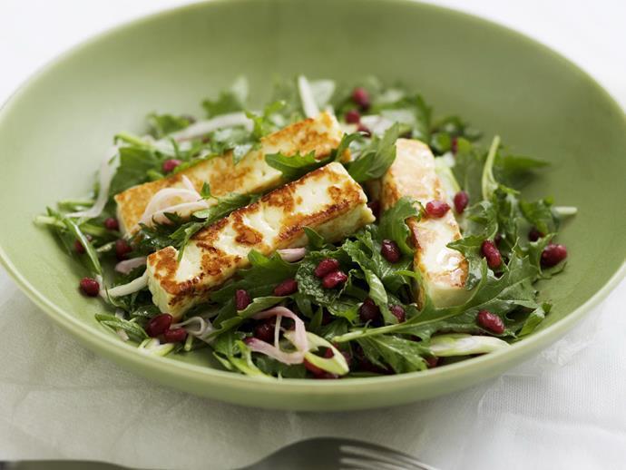 "**[Turkish halloumi and pomegranate salad](https://www.womensweeklyfood.com.au/recipes/turkish-halloumi-and-pomegranate-salad-14753|target=""_blank"")**"