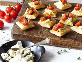 tomato, leek and marinated fetta tartlets