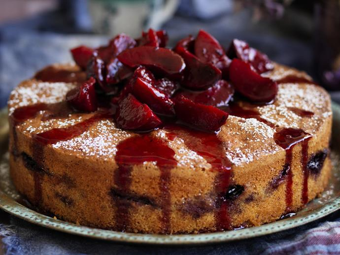 "**[Plum and lemon polenta cake](https://www.womensweeklyfood.com.au/recipes/plum-and-lemon-polenta-cake-6053|target=""_blank"")**"