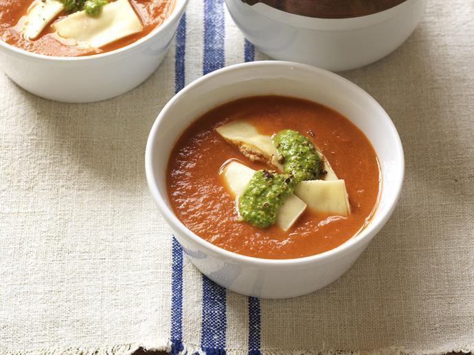 "**[Spicy tomato with ricotta ravioli and rocket pesto](https://www.womensweeklyfood.com.au/recipes/spicy-tomato-with-ricotta-ravioli-and-rocket-pesto-14775|target=""_blank"")**"