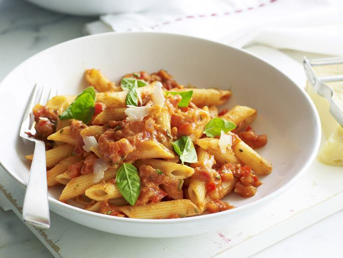 "**[Penne with vegetable bolognese and ricotta sauce](https://www.womensweeklyfood.com.au/recipes/penne-with-vegetable-bolognese-and-ricotta-sauce-6061|target=""_blank"")**"