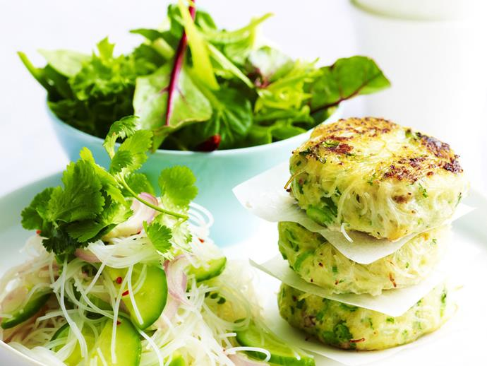 "This [tasty fish cakes](https://www.womensweeklyfood.com.au/recipes/thai-style-fish-cakes-with-cucumber-chilli-pickle-15310|target=""_blank"") are made in the Thai-style, which involves processing whatever meat your using almost to a paste, this gives the cakes their unique texture. Serve these with cucumber chilli pickle and sweet chilli sauce for dipping."