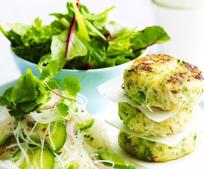 thai-style fish cakes with cucumber chilli pickle