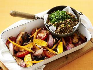 roast vegetables with lentils