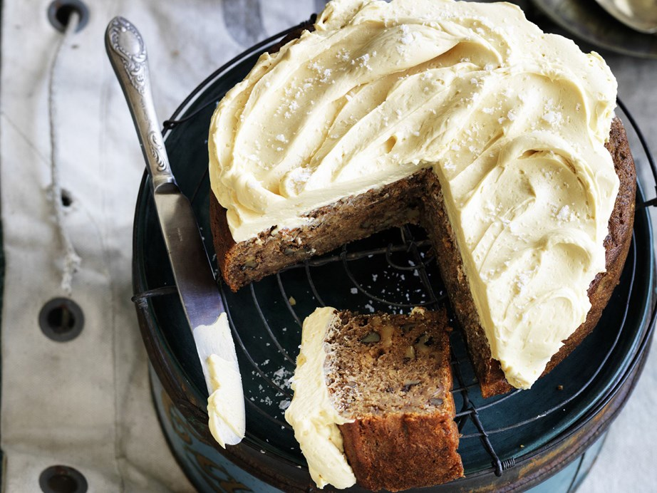 "This [banana coffee and walnut cake with salted caramel frosting](https://www.womensweeklyfood.com.au/recipes/banana-coffee-and-walnut-cake-with-salted-caramel-frosting-14812|target=""_blank"") has it all! The frosting is a little more hands on - but it's so worth the effort!"