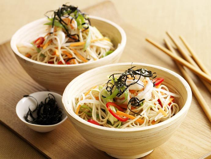 "**[Prawn and soba noodle salad](https://www.womensweeklyfood.com.au/recipes/prawn-and-soba-noodle-salad-6093|target=""_blank"")**"