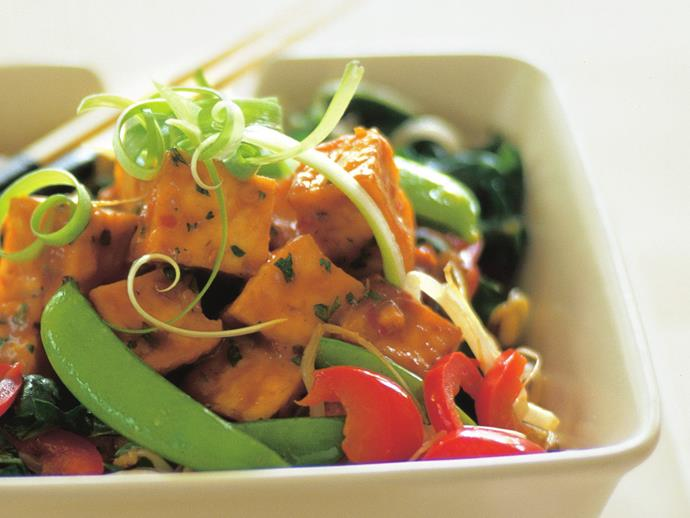 "**[Tofu with chilli peanut sauce](https://www.womensweeklyfood.com.au/recipes/tofu-with-chilli-peanut-sauce-14816 target=""_blank"")**"
