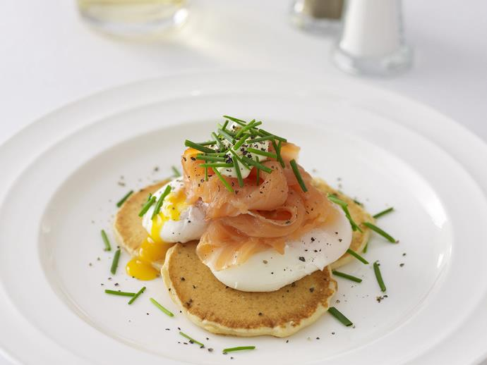 """**[Poached eggs and smoked salmon on blini](https://www.womensweeklyfood.com.au/recipes/poached-eggs-and-smoked-salmon-on-blini-14821 target=""""_blank"""")**  More sophisticated than pancakes, these buckwheat blinis topped with poached eggs and smoked salmon make a gorgeous dish for brunch with friends."""