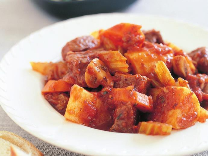 """**[Hearty beef stew with red wine and mushrooms](https://www.womensweeklyfood.com.au/recipes/hearty-beef-stew-with-red-wine-and-mushrooms-14832