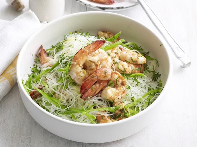 "This warm [prawn and noodle salad](https://www.womensweeklyfood.com.au/recipes/garlic-prawn-and-noodle-salad-14869|target=""_blank""), enlivened with lemon, garlic and mint, makes a wonderful dish for a luncheon."