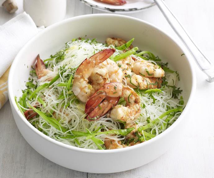garlic prawn and noodle salad
