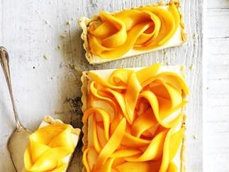 mango & macadamia tart with lime syrup