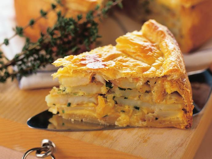 "This [potato, onion and herb pie](https://www.womensweeklyfood.com.au/recipes/potato-onion-and-herb-pie-14900|target=""_blank"") makes a nice change from more meatier versions. It is delicious either hot or cold."