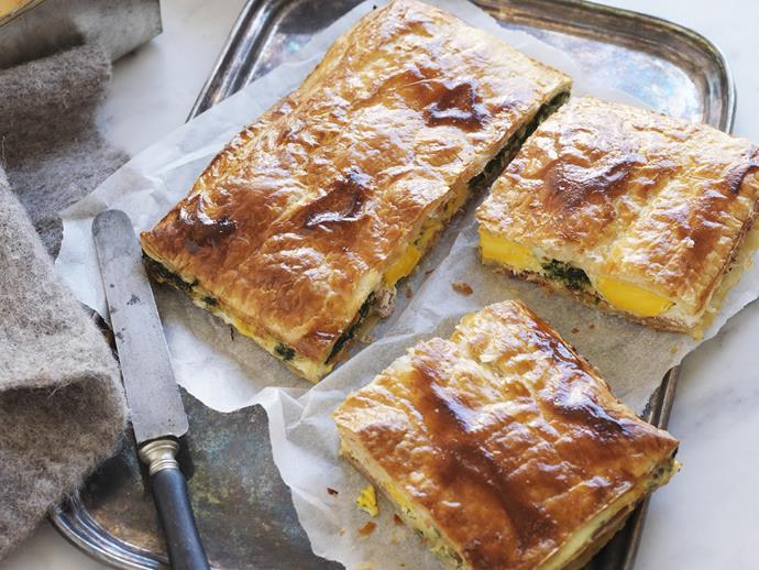 "**[Prosciutto, spinach and egg pie](https://www.womensweeklyfood.com.au/recipes/prosciutto-spinach-and-egg-pie-6138|target=""_blank"")**"