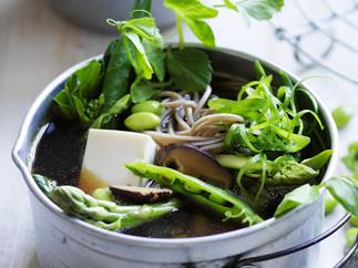 japanese-style vegetable, tofu and noodle broth