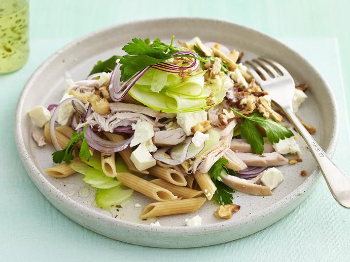 "**[Chicken, walnut and fetta pasta salad](https://www.womensweeklyfood.com.au/recipes/chicken-walnut-and-fetta-pasta-salad-14920|target=""_blank"")**"