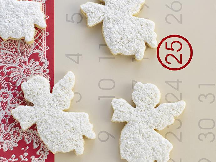 "**Christmas angel biscuits** <br><br> You could use any Christmas cookie cutter to make these biscuits, but angels and snowflakes work the best. <br><br> [**Read the full recipe here**](https://www.womensweeklyfood.com.au/recipes/christmas-angel-biscuits-14923|target=""_blank"")"