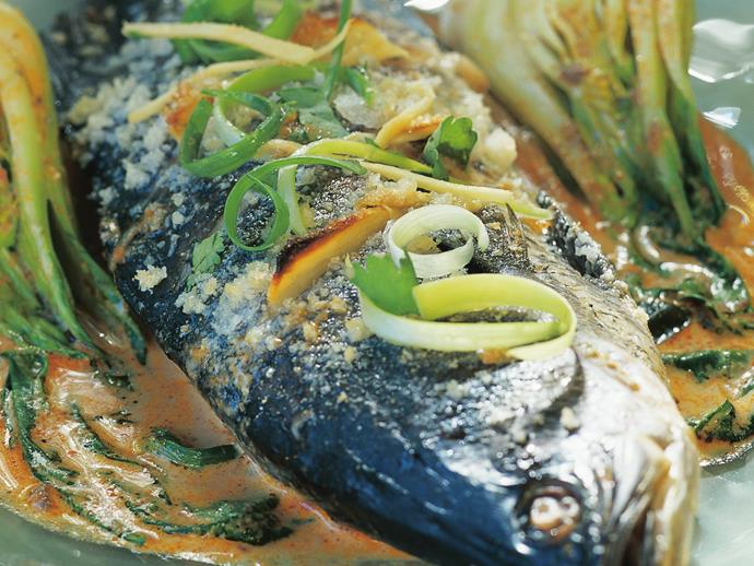 """**[Salt-crusted barramundi on baby buk choy with red curry sauce](http://www.womensweeklyfood.com.au/recipes/salt-crusted-barramundi-on-baby-buk-choy-with-red-curry-sauce-6173