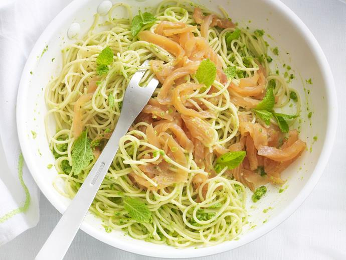 """**[Smoked salmon spaghetti with pea pesto](https://www.womensweeklyfood.com.au/recipes/smoked-salmon-spaghetti-with-pea-pesto-14979