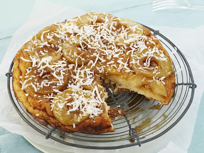 "Impress your dinner guests with this [upside-down cake with caramelised apple](https://www.womensweeklyfood.com.au/recipes/upside-down-cake-with-caramelised-apple-14982|target=""_blank"") and dessicated coconut."