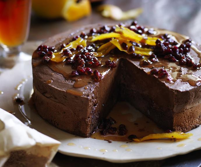 chocolate mousse cake with pomegranate syrup
