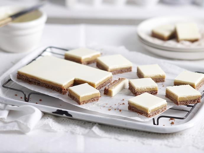 "**[White chocolate caramel slice](https://www.womensweeklyfood.com.au/recipes/white-chocolate-caramel-slice-14410|target=""_blank"")**  We've given the well-loved [caramel slice](https://www.womensweeklyfood.com.au/recipes/caramel-slice-11734