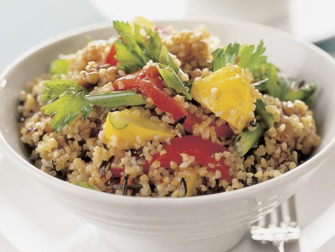 """**[Burghul and wild rice salad](https://www.womensweeklyfood.com.au/recipes/burghul-and-wild-rice-salad-14414