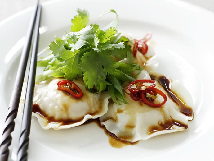 "**[Seafood ravioli with sesame dressing](https://www.womensweeklyfood.com.au/recipes/seafood-ravioli-with-sesame-dressing-14422|target=""_blank"")** For a light meal, enjoy this prawn and scallop ravioli made with Asian flavours."