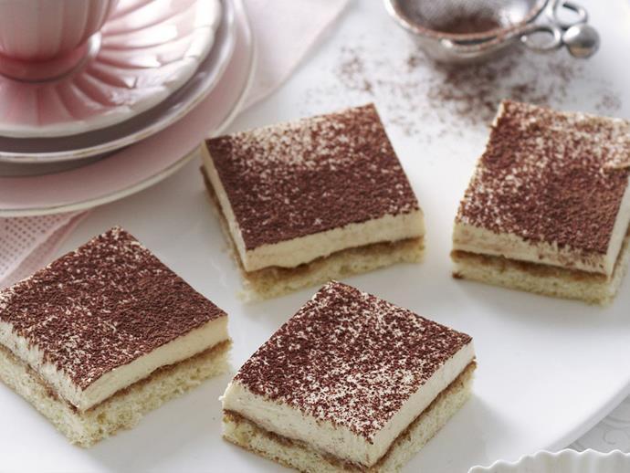 """**[Tiramisu cheesecake squares](http://www.womensweeklyfood.com.au/recipes/tiramisu-cheesecake-squares-14440 target=""""_blank"""")**"""