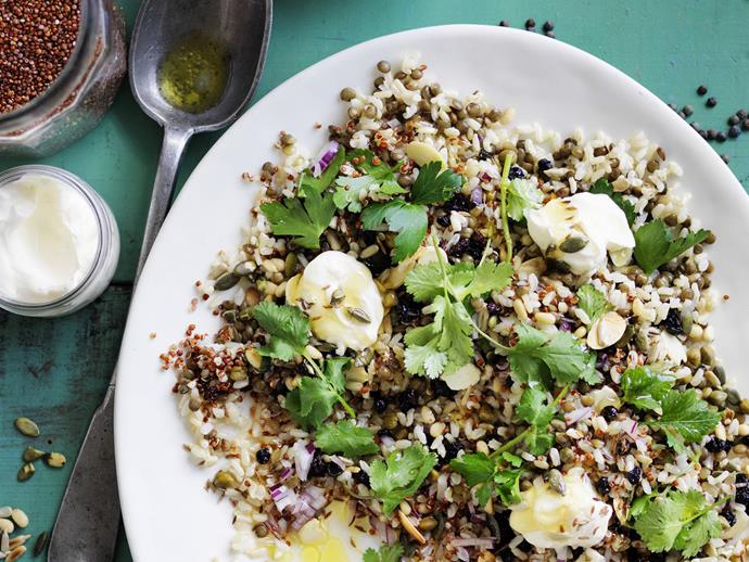 "If you're looking for a healthy salad with a difference, try this Cypriot-inspired [Mediterranean grain salad](https://www.womensweeklyfood.com.au/recipes/mediterranean-grain-salad-6230|target=""_blank"") packed with lentils, brown rice, quinoa, seeds, nuts and fresh herbs."