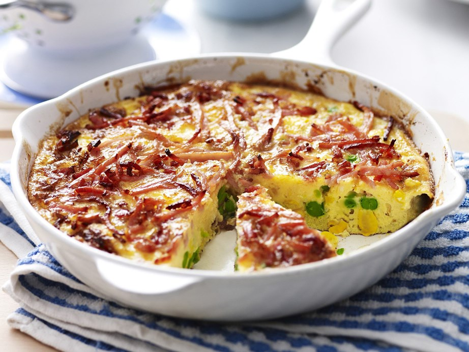 "Perfect for a satisfying midweek dinner, relaxed brunch, or work day lunch - this tasty [bacon, pea and corn frittata](https://www.womensweeklyfood.com.au/recipes/bacon-pea-and-corn-frittata-15344|target=""_blank"") also uses only 4 ingredients and is good to go in under half an hour."