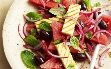 Watermelon and haloumi salad