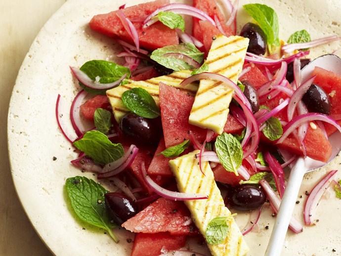 Watermelon and haloumi salad