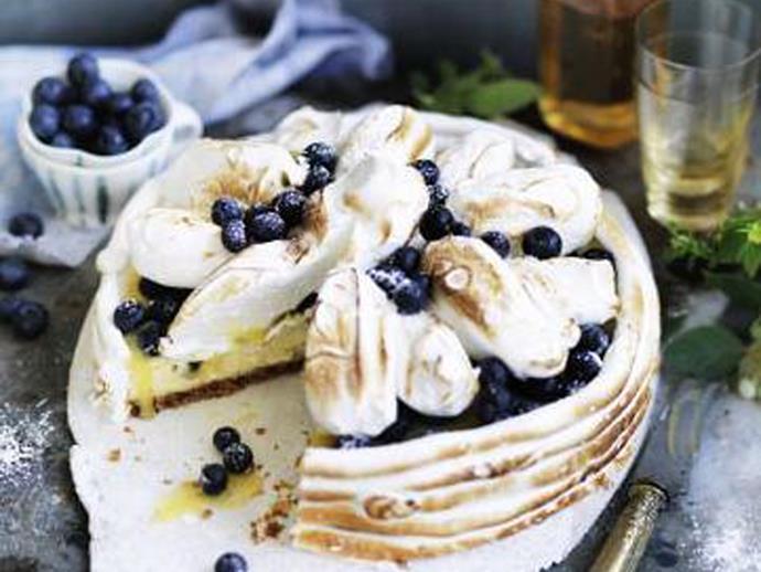 "**[Blueberry lemon meringue cheesecake](https://www.womensweeklyfood.com.au/recipes/blueberry-lemon-meringue-cheesecake-14564 target=""_blank"")**"