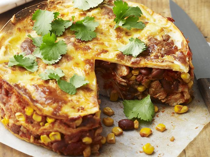 "[Mexican chicken tortilla bake](http://www.womensweeklyfood.com.au/recipes/mexican-chicken-tortilla-bake-6298|target=""_blank"")"