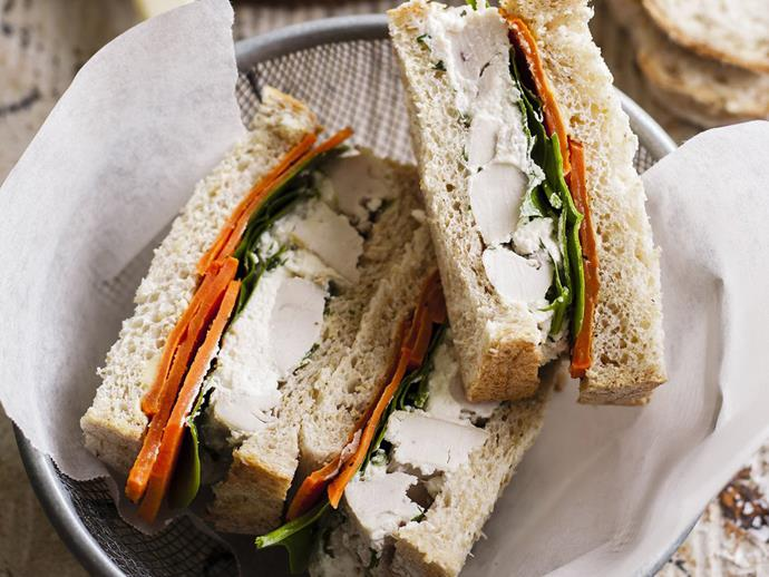 "**[Chicken and kumara sandwiches](https://www.womensweeklyfood.com.au/recipes/chicken-and-kumara-sandwiches-14592|target=""_blank"")**  Delicious chicken salad and filling vegetables make this simple sandwich a perfect midday meal."