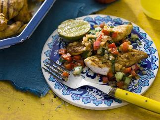 chicken with lentil salad