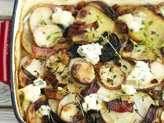 potato, bacon and blue cheese bake