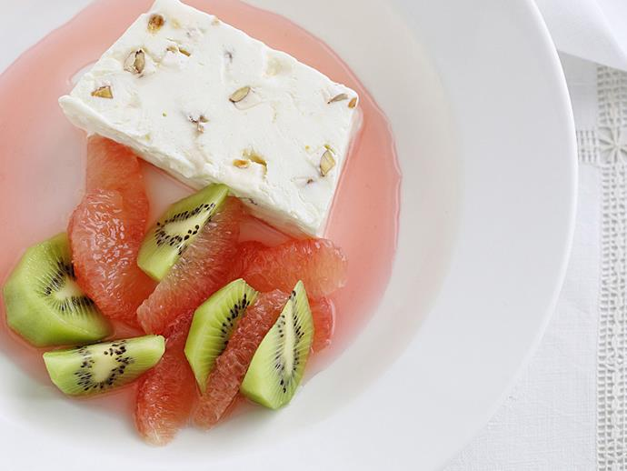 "**[Nougat parfait with ruby red grapefruit syrup](https://www.womensweeklyfood.com.au/recipes/nougat-parfait-with-ruby-red-grapefruit-syrup-5875|target=""_blank"")**"