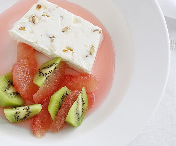 nougat parfait with ruby red grapefruit syrup
