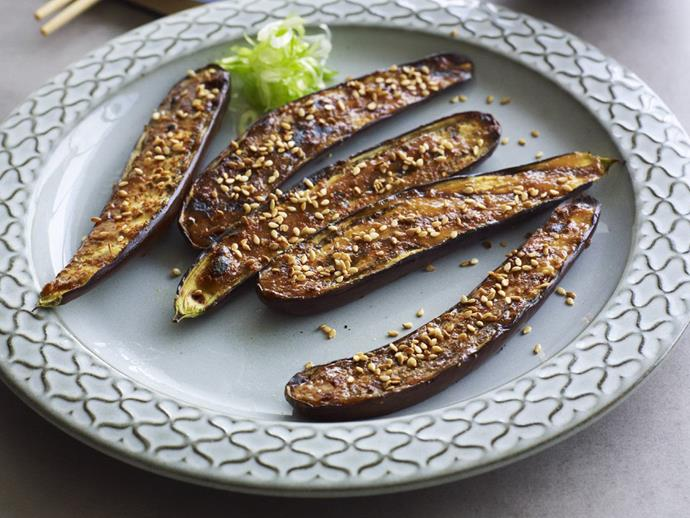 "[Grilled eggplant with miso](https://www.womensweeklyfood.com.au/recipes/grilled-eggplant-with-miso-14650|target=""_blank"")**  Do something good for your heart and busy schedule with this easy Japanese dish. Salty miso paste is at home in miso soup but also a tasty marinade for grilled eggplant."