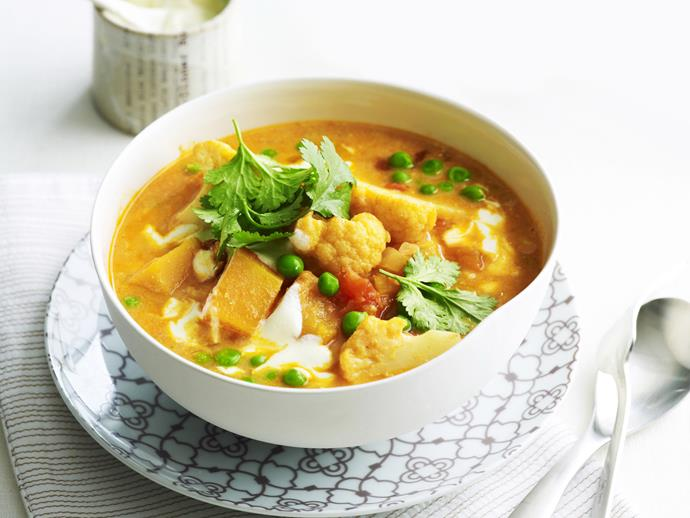 "**[Cauliflower, pumpkin and split pea curry](https://www.womensweeklyfood.com.au/recipes/cauliflower-pumpkin-and-split-pea-curry-14065|target=""_blank"")**  There's plenty of juice to mop up in this delicious vegetarian curry, we're not even sure it's not a soup. Serve with plenty of rice or naan bread to enjoy every last drop."