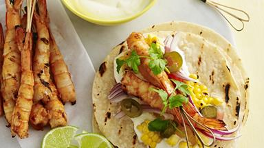 Smoky orange prawn tacos